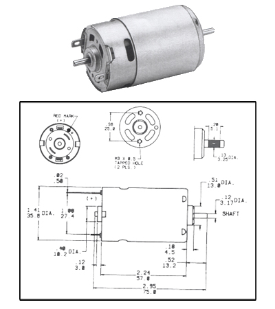 CMO-1212, 12 Volt PMDC Motor Compact Reversible
